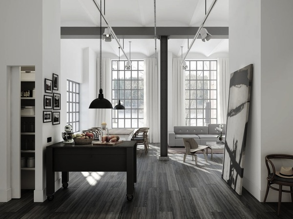 Grey Wood Floors And White Walls