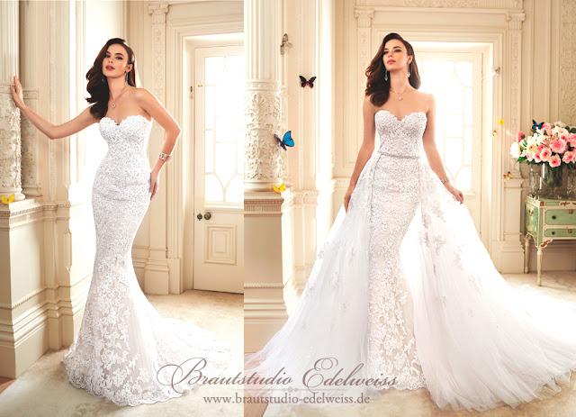 Brautkleid mit abnehmbarer Schleppe aus Tüll auf einem Gürtel.