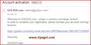GOLDUX Account Activation