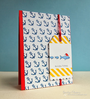 Holiday Fishes nautical holiday card by Jocelyn Olson for Newton's Nook Designs