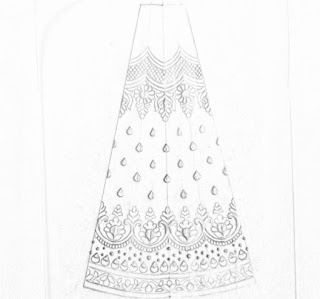 Top 5 pencil sketch lehenga design patterns for machine emroidery and hand embrodiary design.