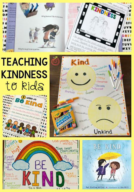 Teaching Kindness to kids collage of ideas and activities