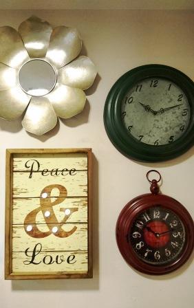 Espejo flor, relojes estilo retro de pared, cuadro Paz y Amor