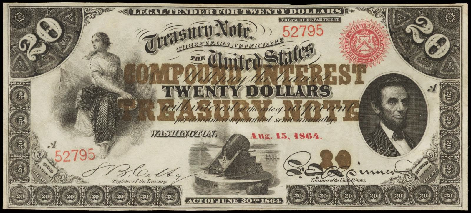 United States currency 20 Dollar Compound Interest Treasury Note 1864
