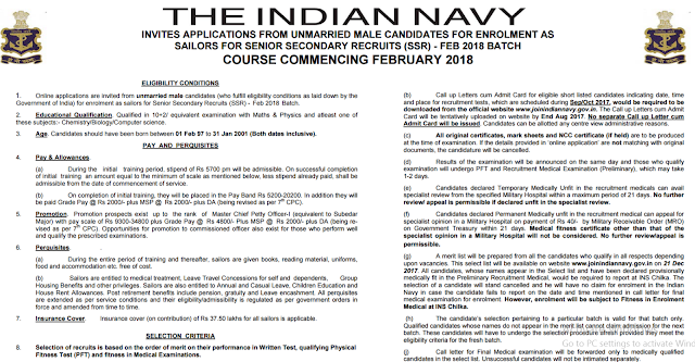 Indian Navy Sailor Recruitment 2017 SSR Entry for 10+2/ 12th Pass