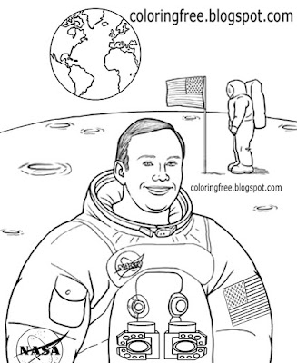 Moon mission landing Neil Armstrong drawing space NASA astronaut coloring page for school lessons