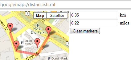 Explore Google Maps: Measuring distance with markers