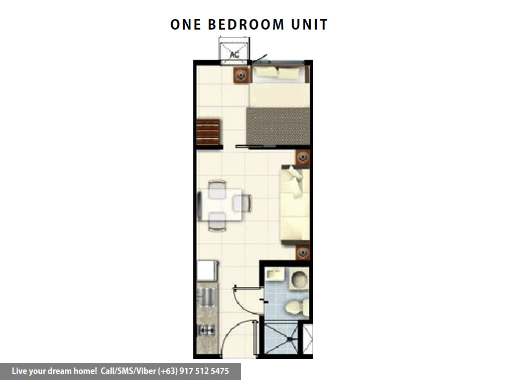Floor Plan of SMDC Coast Residences - 1 Bedroom | Condominium for Sale Roxas Boulevard Pasay