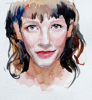 Retrato pintado en acuarela