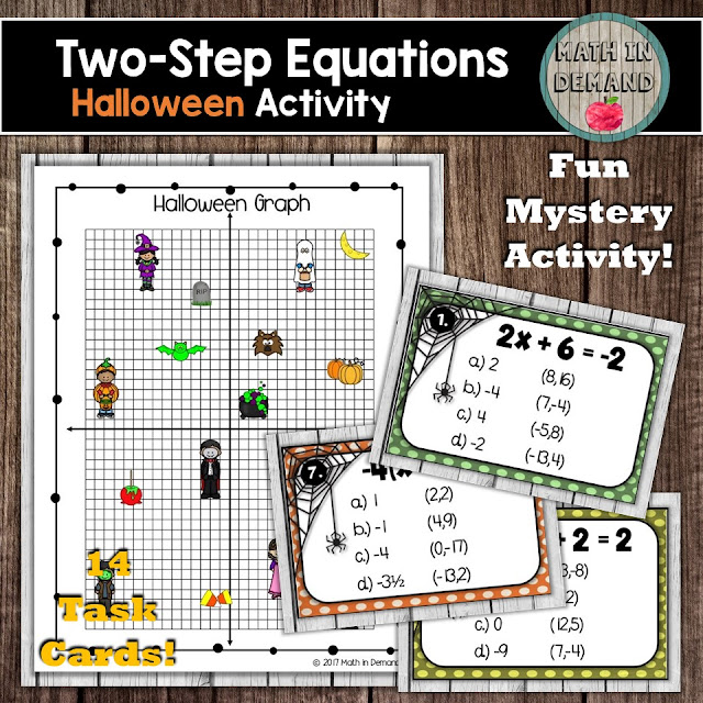 Two-Step Equations Halloween Task Cards