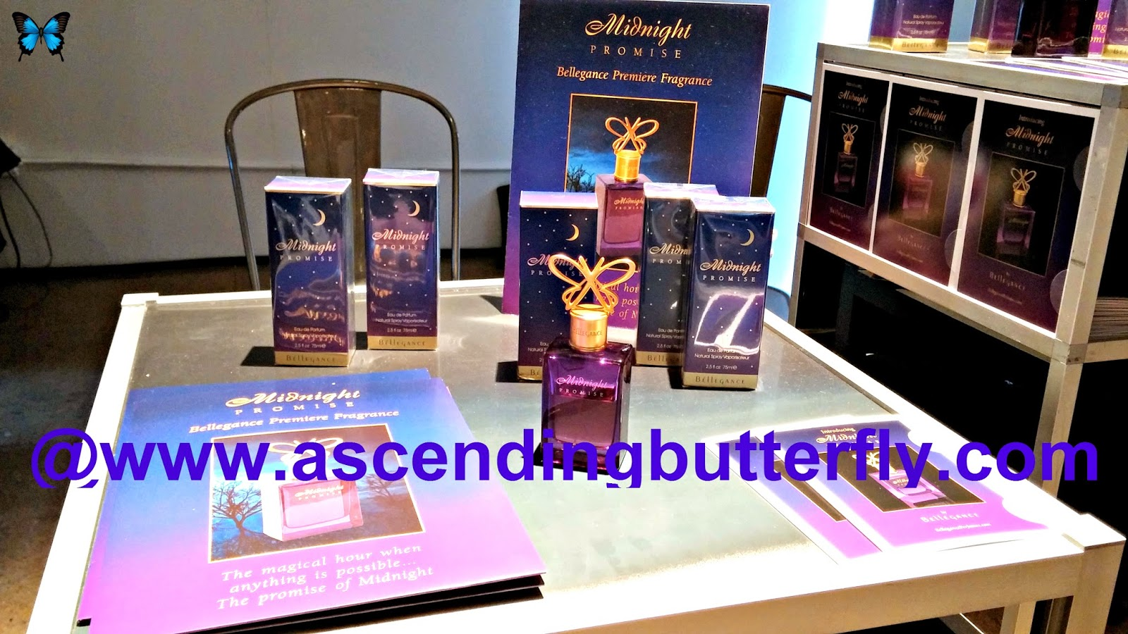 Bellegance Perfumes premiere fragrance Midnight Promise, a beautiful Eau de Parfum, butterfly bottle