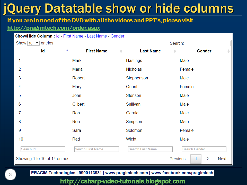 Sql server,  net and c# video tutorial: jQuery datatable show hide