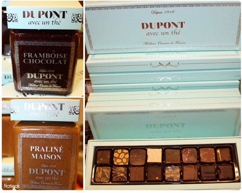 Framboise/chocolat, praliné et assortiments de Dupont avec un thé