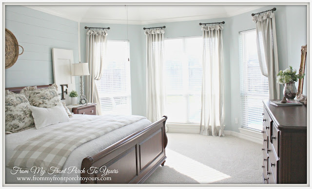 French Farmhouse Master Bedroom-Vintage-Sherwin Williams Rainwashed- From My Front Porch To Yours