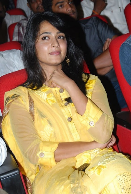 anushka shetty in yellow dress