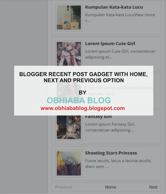 Blogger Recent Post Widget With Home, Next And Previous Option