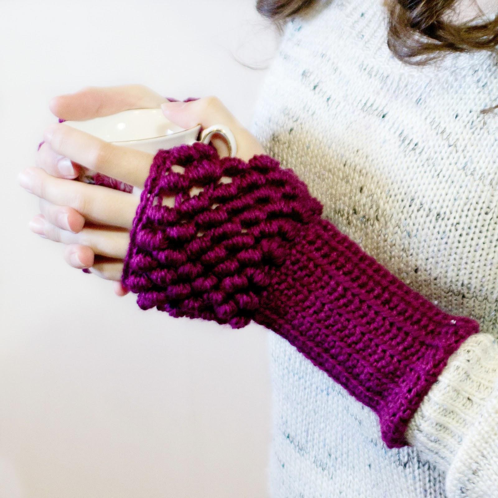 Bullion Stitch Fingerless Gloves