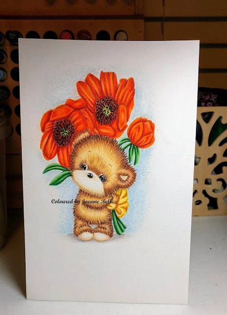 Prismacolored bear holding flowers on colours n cards