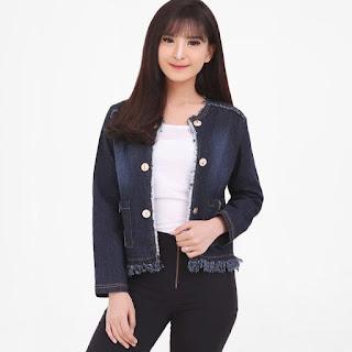 Miracle Shop Muscia Casual Jaket Jeans Wanita