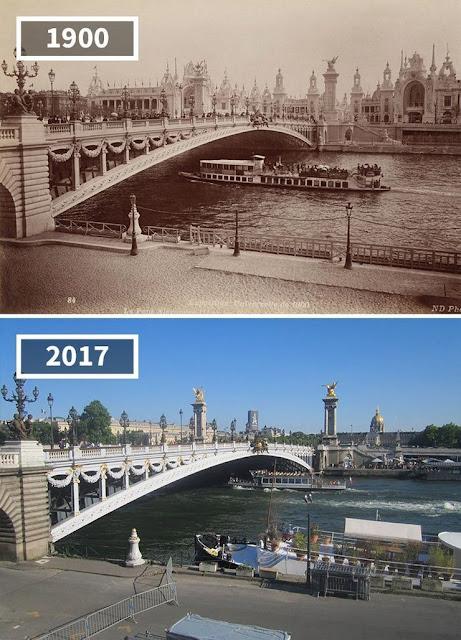 Antes y después puente río Sena, París