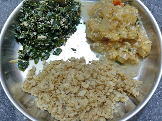 Soaked beaten Wheat, Ash gourd kootu, Moringa greens poriyal