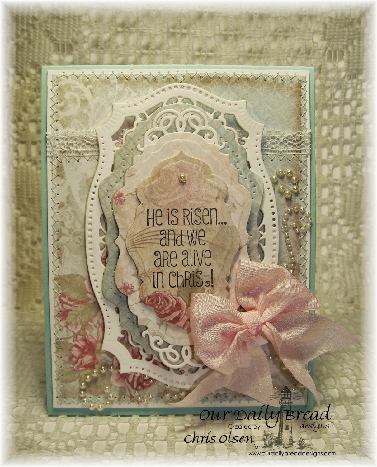 Our Daily Bread Designs, Antique Labels, Vintage Labels die, Vintage Flourish Labels dies, Happy Resurrection Day, Shabby Rose Collection, designer Chris Olsen, Easter