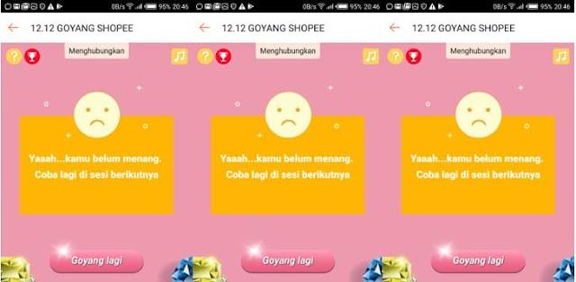 goyang shopee error tidak bisa masuk gagal terus