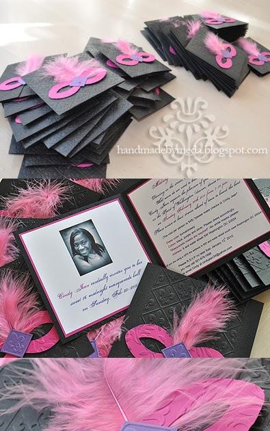 Cindy S Sweet Sixteen Masquerade Invitations Handmade By Meda