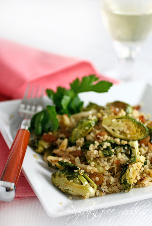 Gluten free spring side dish of quinoa with Brussels sprouts