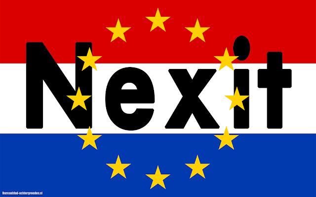 Vlag Nederlands met tekst Nexit