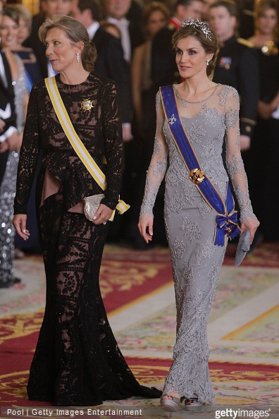 Queen Letizia of Spain and Maria Clemencia Rodriguez de Santos attend a Gala dinner at the Royal Palace on March 2, 2015 in Madrid, Spain