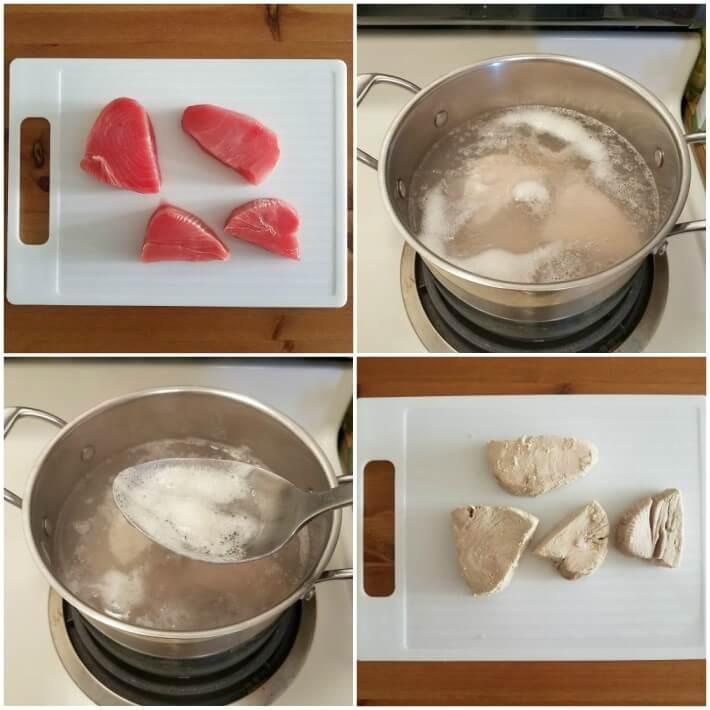 Cocción del atún natural para preparar el escabeche