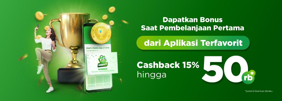 Tokopedia - Promo Cashback 15% s.d 50K Belanja Pertama (s.d 31 Des 2018)