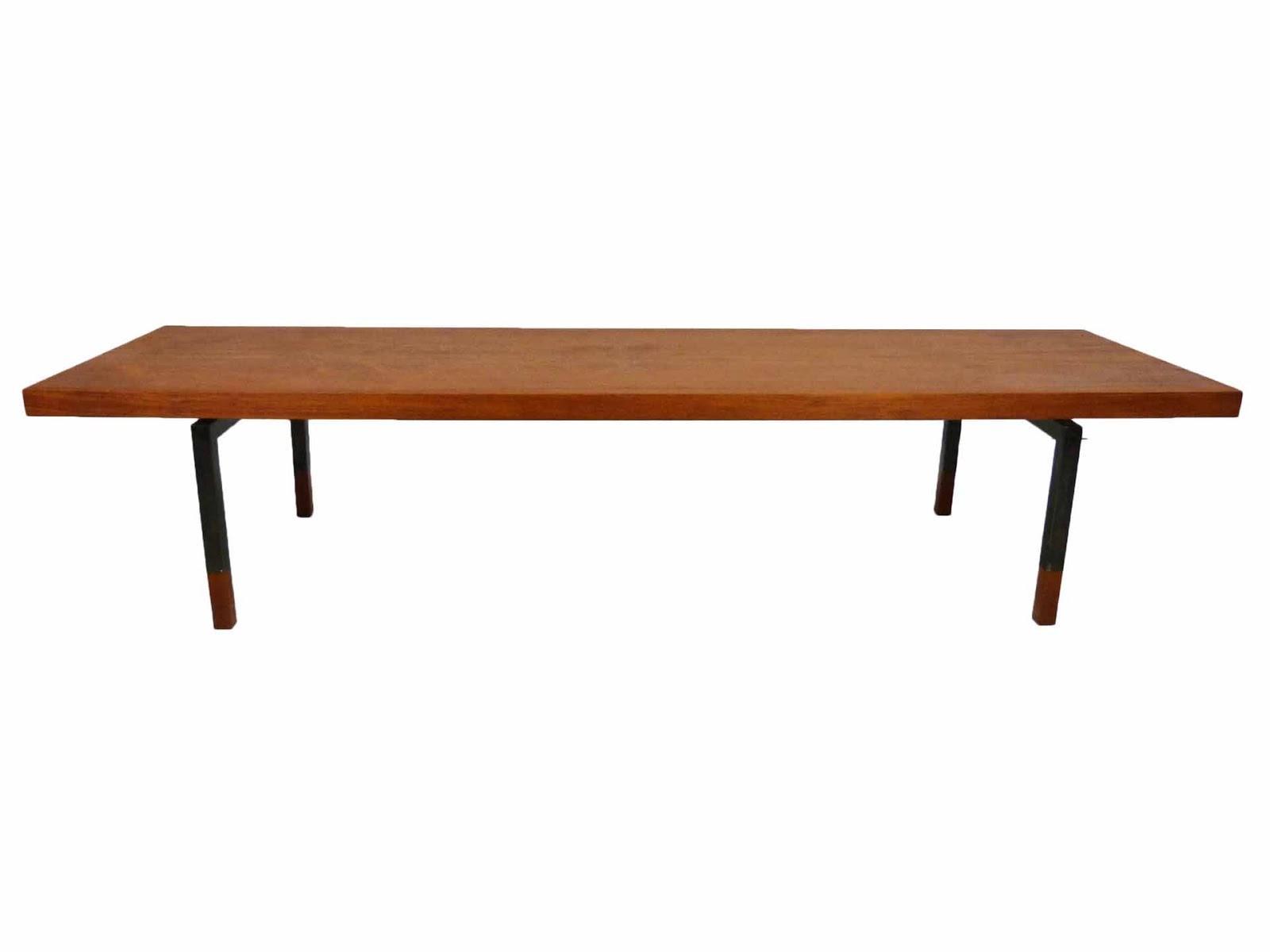 Johannes Aasbjerg Illums Bolighus Danish Modern Teak Sabots Steel Coffee  Table