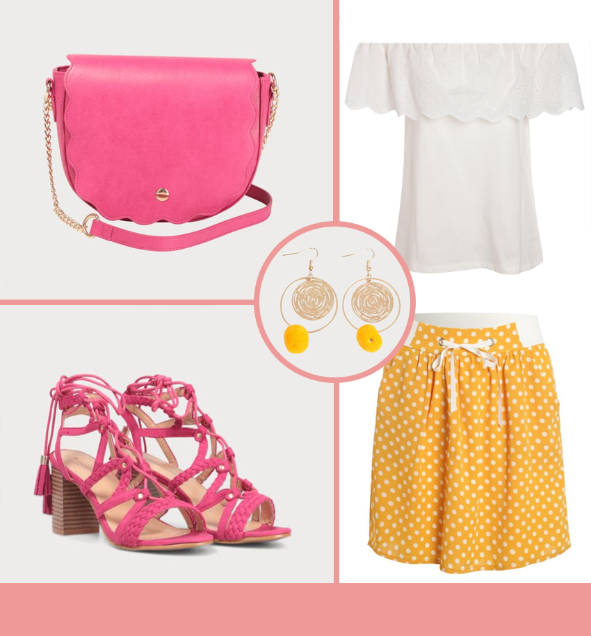 Haut blanc épaules dénudées, jupe jaune à pois, sandales à talons roses, sac rose et boucle d'oreille or avec pompon jaune.