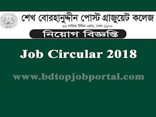 Sheik Burhanuddin Post Graduate College Job Circular 2018