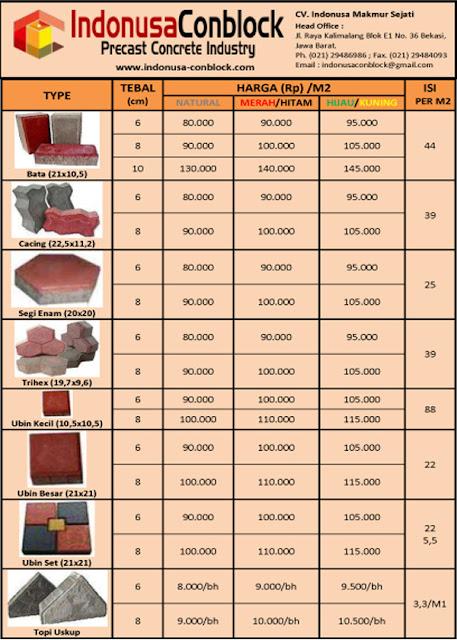 harga jual ukuran pabrik pavingblock conblock konblok 2016