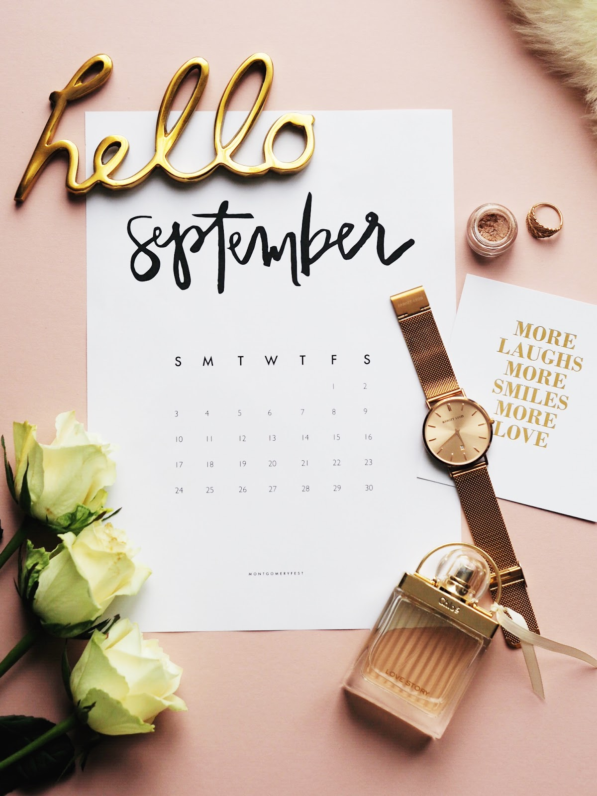 Lifestyle | September Goals Hello September Flat Lay Roses Perfume Watch Make up Calendar
