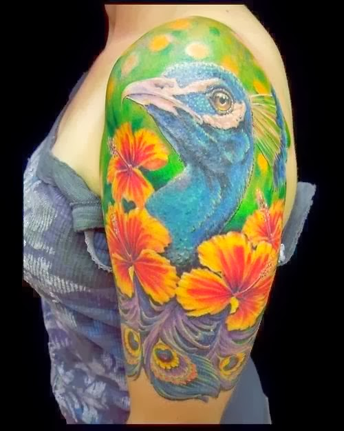Half sleeve peacock tattoo by Dennis P Kline - excellent work.