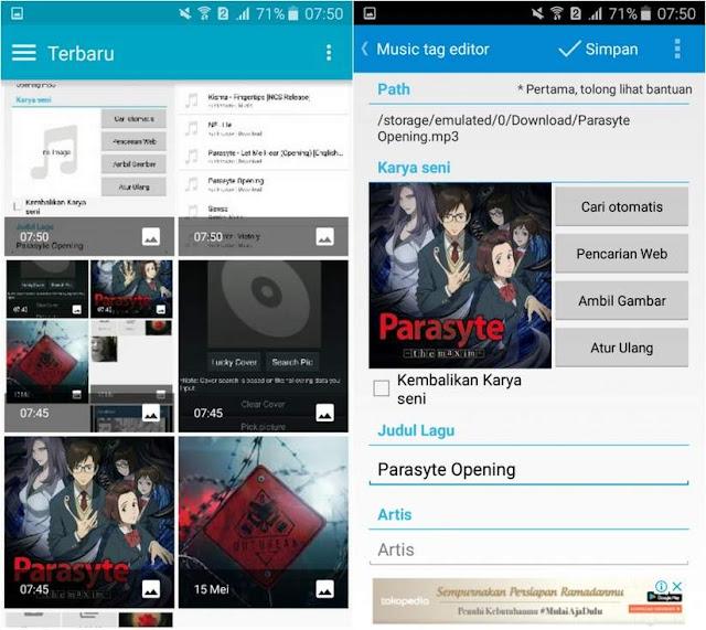 Mendengarkan musik saat ini dapat dilakukan dimana saja dan kapan saja dengan hanya mengg Tutorial Gampang Mengmengganti Foto Pada MP3 di Android