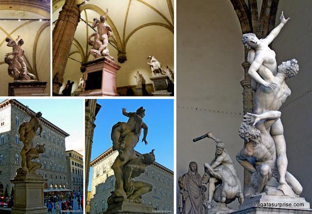 """""""O Rapto das Sabinas"""", de Giambologna, na Loggia dei Lanzi, Florença"""