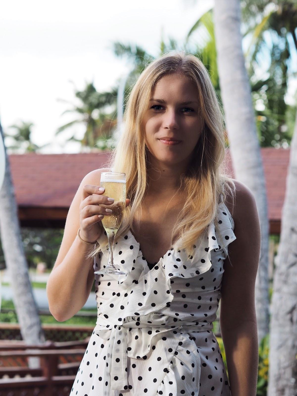 Champagne Breakfast with Shein Polka Dot Wrap Dress