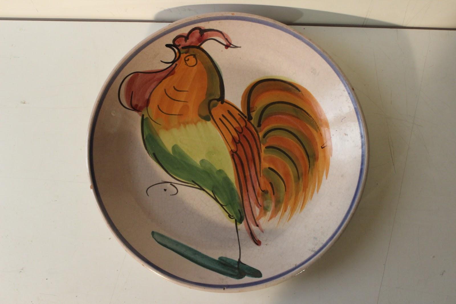 Antico fine 800 grande piatto fangotto in ceramica maiolica con