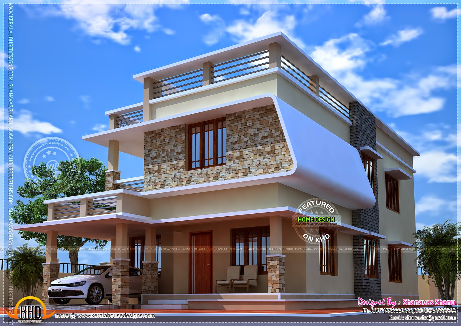 Nice modern house with free floor plan kerala home for Modern house designs and floor plans in india