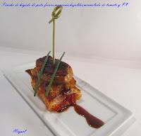 Pincho de hígado de pato fresco, dados de manzana, hojaldre, mermelada de tomate a la vainilla y Pedro Ximenez