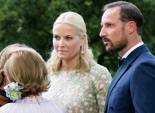 Crown Princess Mette-Marit wore Sandra Mansour Hand Embroidered Dress.Prince Haakon, Princess Märtha Louise and Princess Astrid, Mrs Ferner