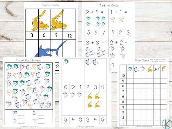 skark themed worksheets to work on kindergarten math - addition, skip counting, graphying, i spy, counting clip cards