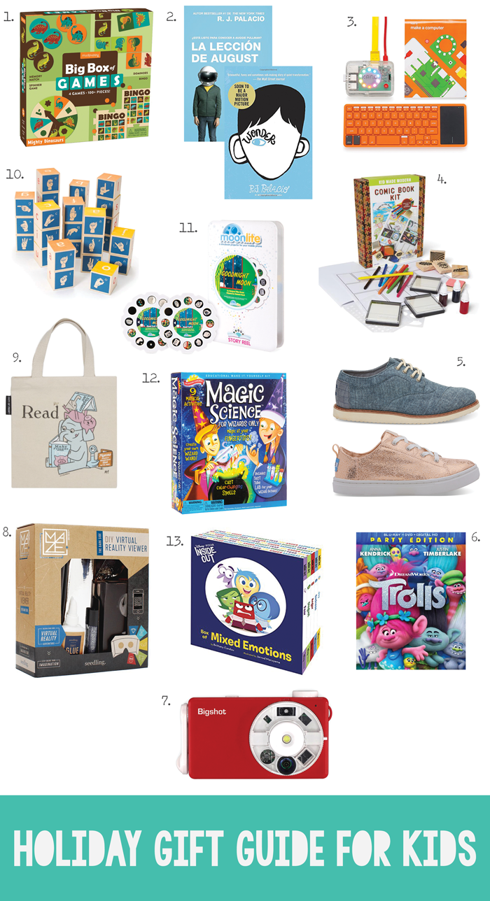 Christmas shopping guide, children, toys, shoes, Toms, educational, books, science, sign language, Out of Print, Wonder, art, dinosaurs