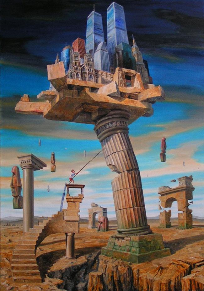 01-Twentieth-Century-Jaroslaw-Jaśnikowski-Paintings-of-Surreal-Architecture-with-Gothic-Undertones-www-designstack-co