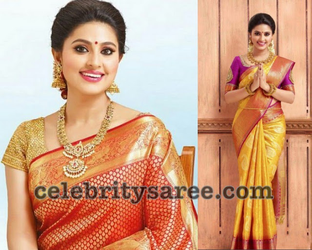 Sneha Yellow and Red Traditional Saris